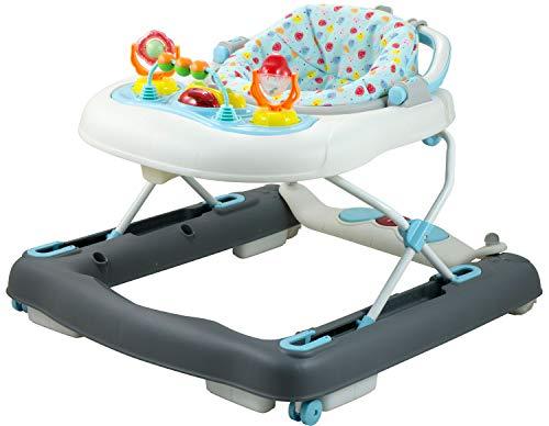 Bieco Baby Lauflernhilfe | 3in1 | Gehfrei Baby ab 6 Monaten | Baby-Walker | Spielcenter mit Aktivität & Melodien | Blau/Weiß| kippsicher | höhenverstellbar | Wippfunktion