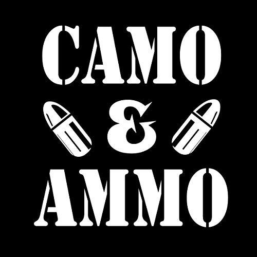 More Shiz MKS0680 Aufkleber/Sticker aus Vinyl, Camouflage und Ammo Guns Militär 2. Wahl, Auto, LKW, Van, Geländewagen, Fenster, Wand, Tasse, Laptop, 14 cm, Weiß