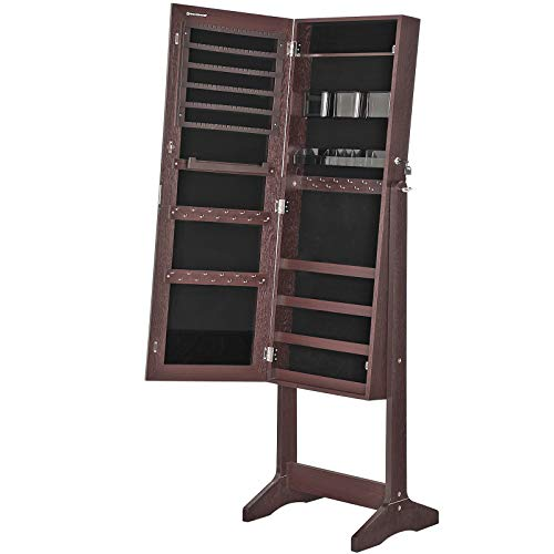 SONGMICS Mirror Jewelry Cabinet Armoire, Freestanding Lockable Storage Organizer Unit with 2 Plastic Cosmetic Storage, Brown UJJC002K01