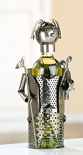 Gilde Soporte para botellas de vino Golfista con banderitas y funda con raquetas NR 656565