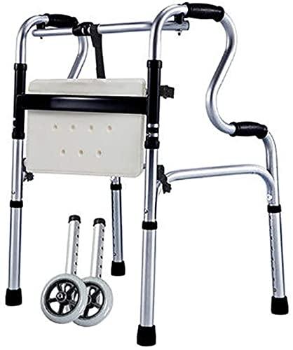 Seniors Lightweight Rolling Walker, con asiento y mango, caminante vertical estrecho plegable, para baño / inodoro / ayuda de movilidad, altura ajustable