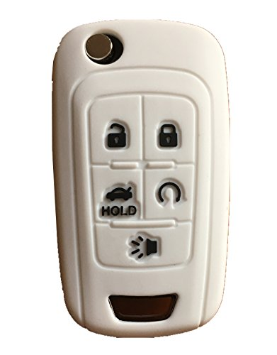 Rpkey Silicone Keyless Entry Remote Control Key Fob Cover Case protector Replacement Fit For Chevrolet Camaro Cruze Limited Equinox Impala Limited Malibu Malibu Limited Sonic(white)