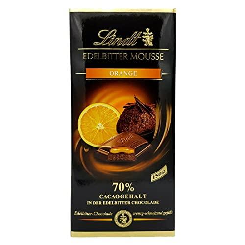 Lindt Tableta de Chocolate Negro, 70% Cacao, con Naranja, 150g