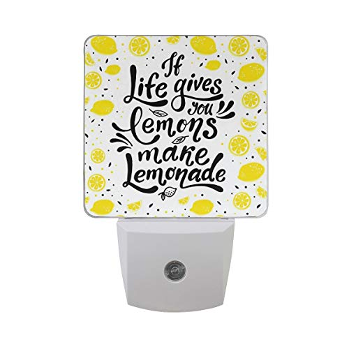 AOTISO If Life Gives You Lemons Make Lemonade Modern Letter Motivational Quote Auto Sensor Night Light Plug in Indoor