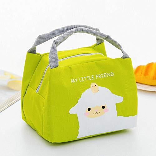 Heng draagbare geïsoleerde thermische voedsel picknick lunch tas doos cartoon zakken zakje voor meisje kinderen kinderen, groene schapen, 17cm tot 21cm tot 15cm