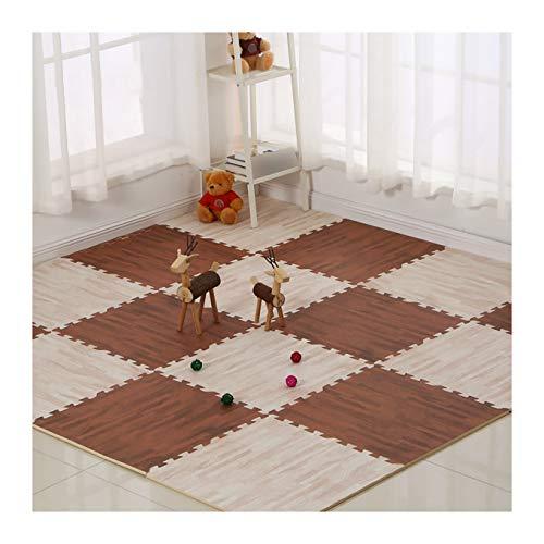 LXZFJW Azulejos entrelazados de espuma de grano de madera enclavado antifatiga Puzzle baldosas de suelo alfombras de 30 x 30 x 1 cm, 16 unidades