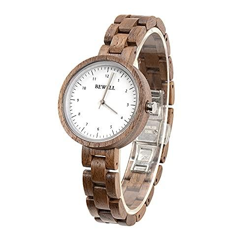 BEWELL Reloj de pulsera de madera natural, estilo casual, movimiento de cuarzo, reloj ligero para mujeres y niñas