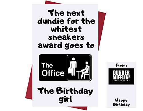Funny Birthday Card The Office US For Men – Dundie Award – The Office TV Series Greeting Card – Birthday Card The Office – For Friends, Family, Etc. Who Love The Office – Whitest Sneakers Award (Girl)
