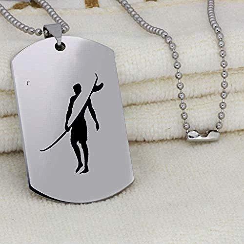 YOUZYHG co.,ltd Halskette Halskette Kajak Patern Anhänger Halskette gravierte Edelstahl Schmuck für Outdoor-Sportler Segelboot Halskette Geschenk