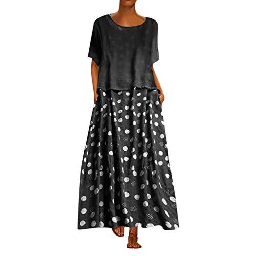 Writtian Damen Maxikleid Elegant große größen O-Ausschnitt Kurzarm Leinenkleid für den Sommer Polka Dots Casual Kleid Boho Look Strandkleider