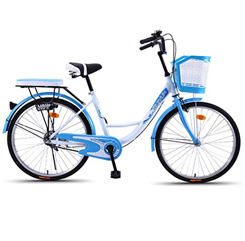TRY 24-Inch Single-Speed Bike for Men and Women Students Ms. Adult Bicycle Commuter Scooter Retro Ladies Princess Bike Commuter Car,Blue,24'