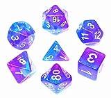 Flexble DND Dice Set de dados púrpura azul RPG Polyhedral dados para mazmorras y dragones Pathfinder D&D Juego de rol Juego de mesa 7-Die Set D20 D12 D10 D8 D6 D4 (dados Aurora)