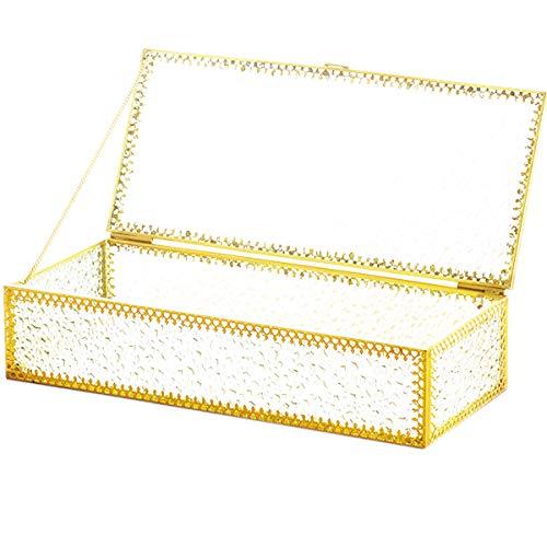 dancepandas Caja de Cristal y Metal Dorado Transparente