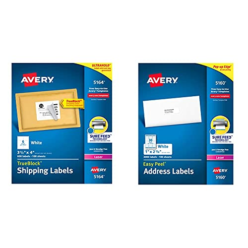 Avery Shipping Address Labels, Laser Printers, 600 Labels, 3-1/3x4 Labels, Permanent Adhesive, TrueBlock (5164), White & 5160 Easy Peel Address Labels , White, 1 x 2-5/8 Inch, 3,000 Count (Pack of 1)