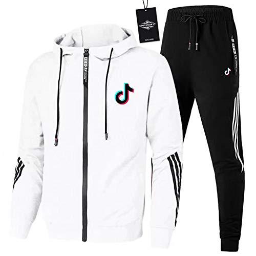 MAUXIAO de Los Hombres Chandal Conjunto Trotar Traje ti_k to-k.s Hooded Zipper Chaqueta + Pantalones Deporte Z/Blanco/L