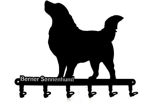 Portachiavi - 'Berner Sennenhund bernese mountain Dog - Beautiful chiave gancio per parete - Chiave cremagliera Dog - 6 ganci - Metallo - nero