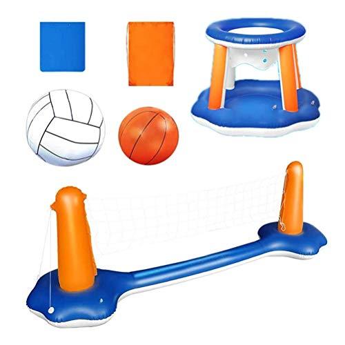 SFNTION Aufblasbarer Pool Float Set, schwimmendes Volleyballnetz mit aufblasbarem Basketballkorb und verstellbarem Netz und 2 Bällen, Volleyballfeld