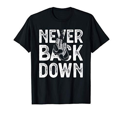 Never Back Down Boxing Club Apparel Gym Boxer Gloves Maglietta