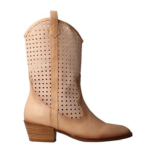HISPANITAS HV00420 - Cowboy Boots Leder perforiert Sand für Damen, Braun - sandfarben - Größe: 37 EU
