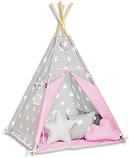 FUNwithMUM Teepee Tent For Children Tipi Indian Wigwam Home Garden Floor Mat and 3xPillows Included 150x100x100 Cotton Sea Breeze