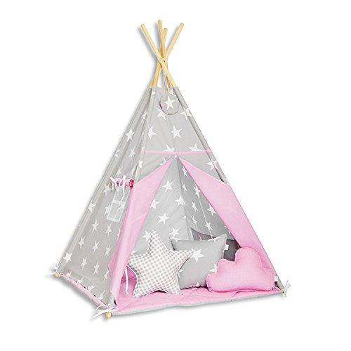 FUNwithMUM Tipi Zelt Spielzelt Teepee Fur Kinder Indianer Wigwam Kinderzimmer Garten Bodenmatte 3xKissen 100x100x150 Baumwolle - Candy Star