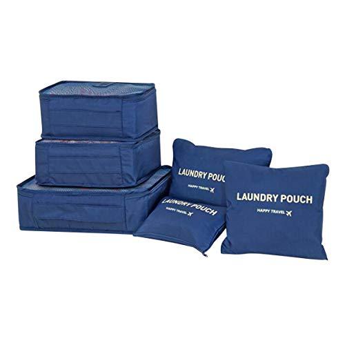Organizador Maleta Packing Cubes, Coolzon Organizador Equipaje de Viaje Impermeable Cubos Embalaje Bolsa de Zapato, 6 Set, Azul Oscuro