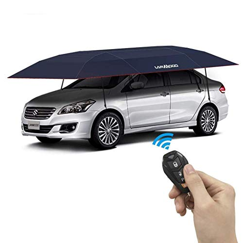 LANMODO Pro Four-season Automatic Car Tent Cover Carport Folded, Car Umbrella Tent Car Sunshade with Anti-UV, Water-Proof, Proof Wind, Snow, Storm Hail 188.97X90.5 inch (4.8M Auto without Stand, Navy)