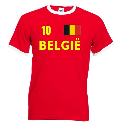 Fruit of the Loom BELGIE Retro Herren T-Shirt Belgien Trikot Nr.10|XL