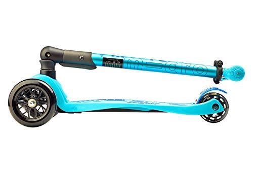 Micro® Maxi Deluxe Plegable, Patinete 3 Ruedas, 5-12 Años, Peso 2,5kg, Carga Máx 70Kg, Altura 67-91 cm, Plataforma Antideslizante Polipropileno (Azul Brillo, Única)