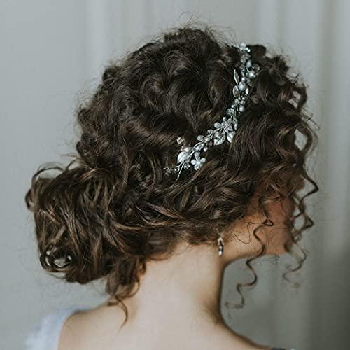 Vakkery Diadema de novia con flor de cristal para novia, accesorio para el pelo de novia, para mujeres y niñas