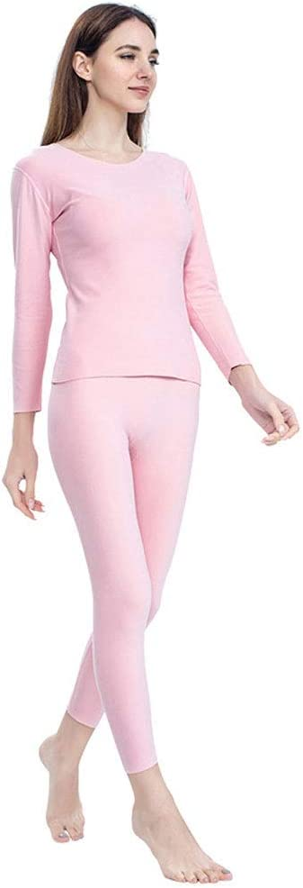 ZXYWW Womens Thermal Underwear Set Long Johns with Double-Sided Fleece, Ultra Soft Top & Bottom Base Layer for Skiing/Biking(Gift for Family),Light Pink,XXXL