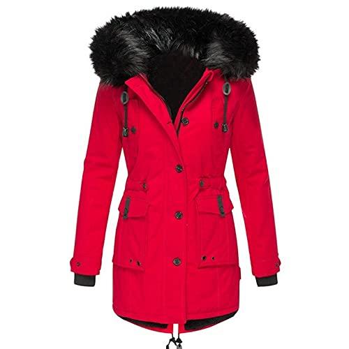 Parka - Chaqueta de invierno cálida para mujer, para exterior, con forro de piel, con capucha, abrigo grueso de invierno, con cordón, rojo, XXXL