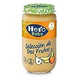 Hero Baby - Baby Natur. Seleccion De Tres Frutas. Alimento Infantil. + 4 Meses. Sin gluten. Sin Aditivos 235 gr - Pack de 12 (Total 2820 gr)