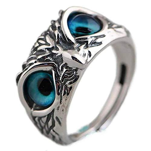 SHOULIAN Anillo de Plata de Ley con Forma de búho de Ojo de Demonio, Anillo de Ojo de búho de Demonio, Regalo de joyería para Mujeres y Hombres