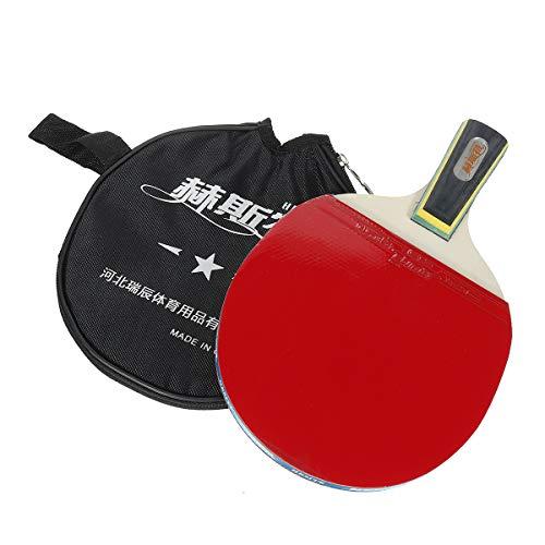 KINGDUO 1 Pieza de Raqueta de Tenis de Mesa de Goma de Madera Profesional Bola de Paleta con Almacenamiento Bolsa
