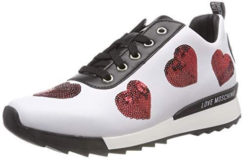 Love Moschino Damen Scarpad.Power25 Vitello Sint. Sneaker, Weiß (Bianco 100), 38 EU