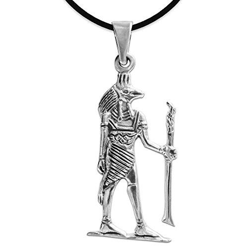 Clever Schmuck Colgante de plata de ley 925 para hombre o mujer, Egipto de 29 mm, Anubis, brillante, con collar de cuero negro, en caja de regalo plegable