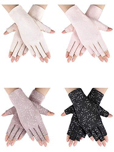 4 Pairs Women Sunscreen Fingerless Gloves UV Protection Half Finger Gloves Summer Sunblock Gloves...