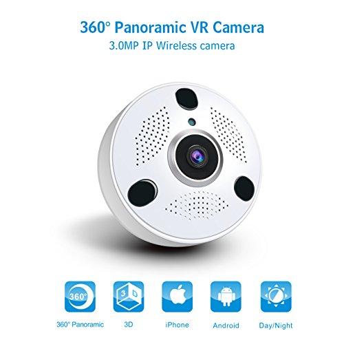 Anni Home 3.0 MP WiFi Seguridad cámara Sistema 360 Grado Interior Wireless cámara IP panorámica, Lente de Ojo de Pescado HD Amplio ángulo de visión, P2P, Audio de Dos vías y visión Nocturna