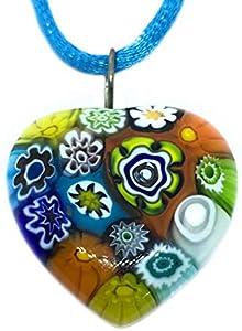 Joyería de cristal de Murano, colgante de corazón de cristal de Murano, corazón Millefiori de 2,5 cm, incluye caja de regalo y certificado de autenticidad.
