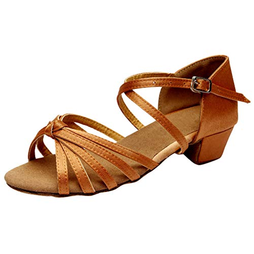 Tanzschuhe Damen Mädchen Standard Latin Party Dance Schuhe Ballsaal Salsa Tango Tanzschuhe Weiche Sohle für Mutter Tochter Gr 24-41 Celucke (Braun, 35 EU)
