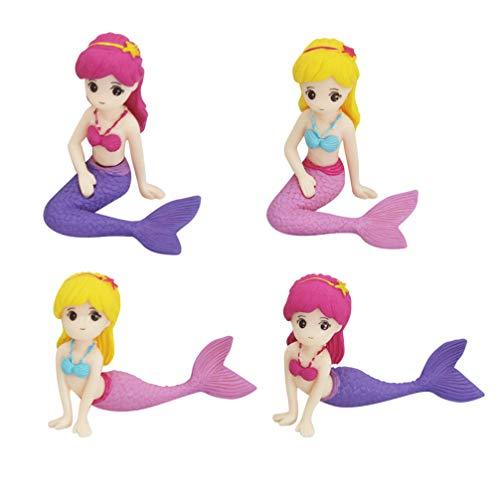 TOYANDONA 4 Piezas Mini Figuras de Sirena, Adornos de Pastel de Muñeca de Sirena para Regalos de Niños Pastel de Cumpleaños O Decoraciones de Automóviles de Mesa para El Hogar-Patrón Mixto
