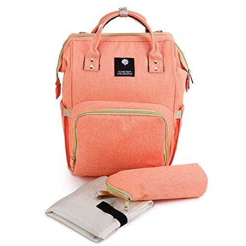 Baby Wickelrucksack mit Wickelunterlage Mehrfunktionale Wickeltasche Travel Bag Reisetasche Handtasche Nappy Bag Orange