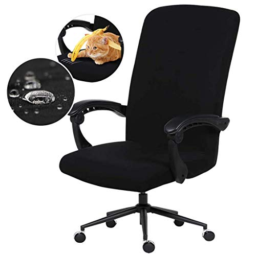 Water Resistant Stretch Computer Office Chair Cover with Durable Zipper - Universal Washable Removable Spandex Rotating Boss Chair Slipcovers - Anti-dust Soft Desk Chair Seat Protector for Dogs, Cats