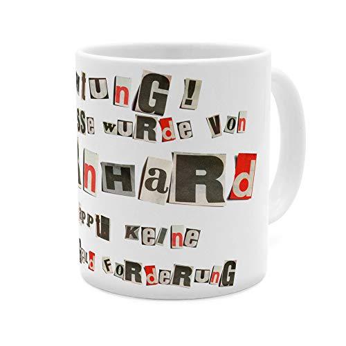 printplanet Tasse mit Namen Bernhard - Motiv Ausgeschnittene Buchstaben - Namenstasse, Kaffeebecher, Mug, Becher, Kaffeetasse - Farbe Weiß