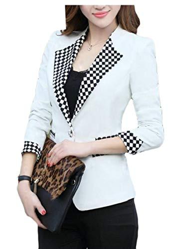 Adelina dames blazer herfst ruit slim vest fit button lange mouwen revers modieuze completi voorzakken casual jas moderne stijl Coat