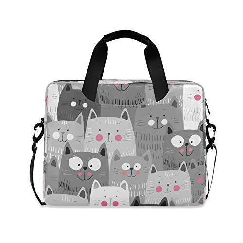 Yulife Cute Cats Kitty Laptop Bag Sleeve Case for Women Men Animals Kitten Briefcase Tablet Messenger Shoulder Bag with Strap Notebook Computer Case 14 15.6 16 Inch for Kids Girls Business