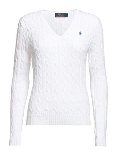 Ralph Lauren Polo da donna Kimberly Cable Knit con scollo a V Bianco (Classic White) S