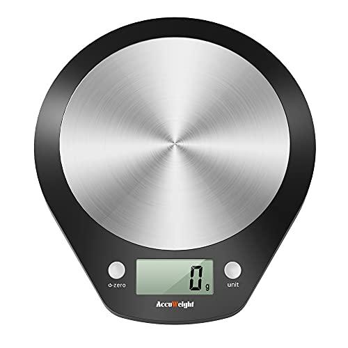 ACCUWEIGHT Bilancia da Cucina Digitale bilancia cucina Funzione Tara bilancia di precisione Bilance Alimenti Elettronica con Piattaforma in Acciaio Inossidabile bilancia cucina digitale, 1g a 5 kg