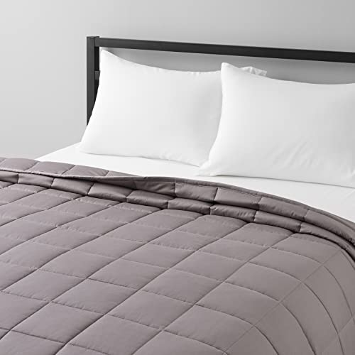 Amazon Basics All-Season Cotton Weighted Blanket - 20-Pound, 60' x 80' (Full/Queen), Dark Gray
